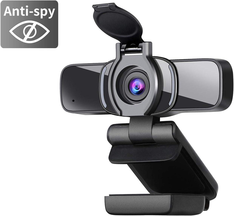 Dericam 1080P Cámara Web, cámara Web USB, cámara de computadora HD para Skype, FaceTime, Hangouts, PC/Mac/Laptop/MacBook/Tablet con micrófono Incorporado y Cubierta de privacidad