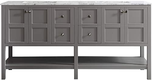 Vinnova 713072-GR-CA-NM Florence 72 Double Vanity in Grey with Carrera White Marble Top without Mirror