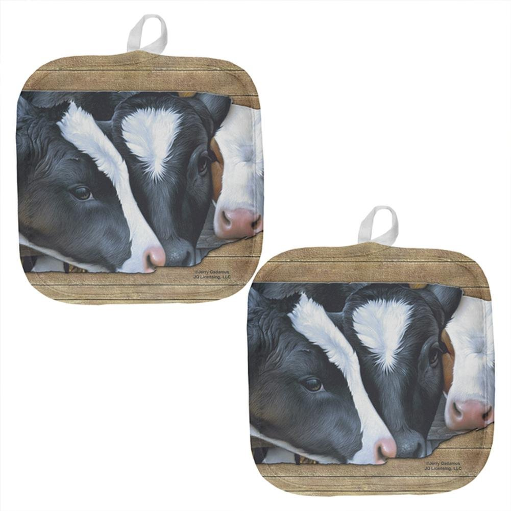 Queens of the Dairy Farm Cows All Over Pot Holder (Set of 2) Multi Standard One Size