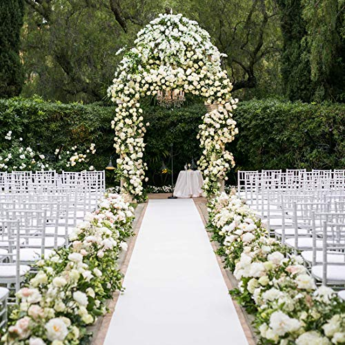 Wedding Runner - Healon Wedding Decorations White Aisle Runner 100 x 3 ft with Floral Print and Pull String