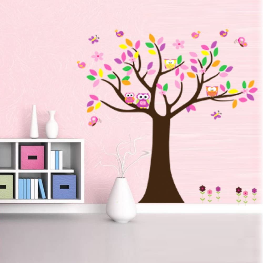 Wongmarket Diy Room Quote Decal Art Vinyl Wall Sticker Paper Trees Owls Leaves And Lovely Birdsleaves Amazon Co Uk Kitchen Home