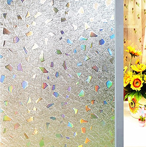 Coavas Window Film No Glue 3D Static Cling Window Film Decorative and Anti-UV Window Film Suitable for Your Home and Office Decoration (Silver, 17.7 by 78.7 Inch)