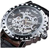 WINNER Leather Band Men Military Clock Skeleton Mechanical Hand Wind Watch Vintage Luxury Quality Gift Steampunk