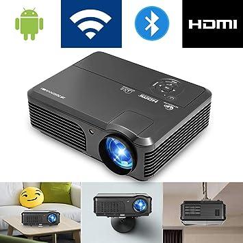 Bluetooth Wifi Proyector 4200 lúmenes, 1080p Proyector LED portátil, Proyector de cine en casa digital Puerto USB exterior HDMI TV Audio AV (Manual en ...