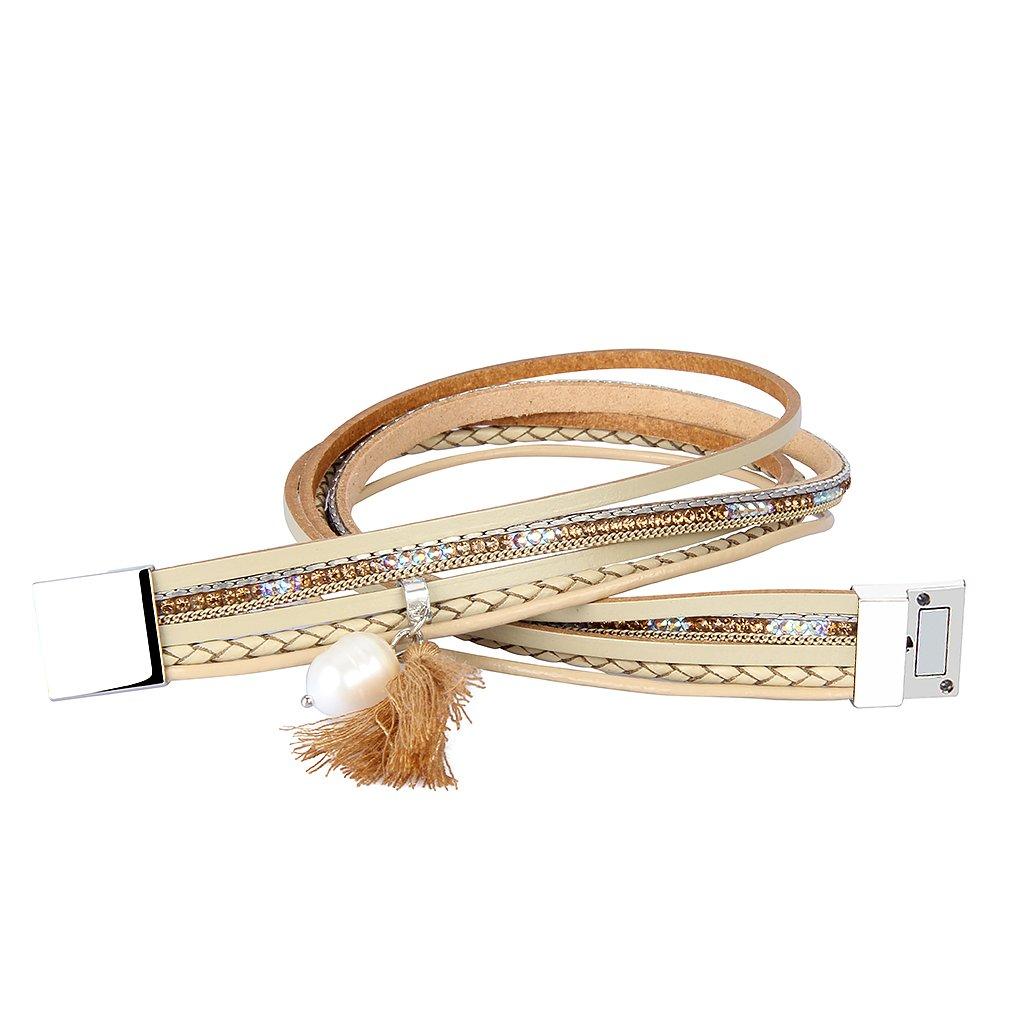60321a810 P Prettyia Bracelet Femme Fantaisie Pas Cher Bohème en Cuir Multi ...