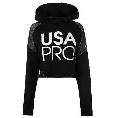USA Pro Mujer Sudadera Corta con Capucha Detalle de Malla Negro L (EU 42/