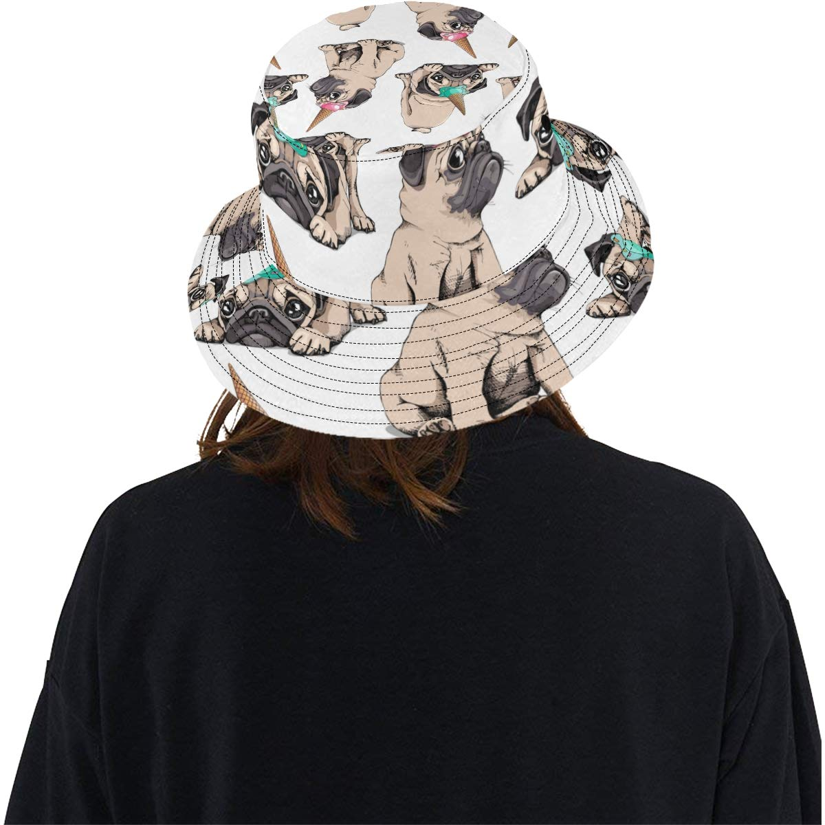 Teens Women and Men with Customize Top Packable Fisherman Cap for Outdoor Travel Cute Dog Eat Cold Ice Cream New Summer Unisex Cotton Fashion Fishing Sun Bucket Hats for Kid