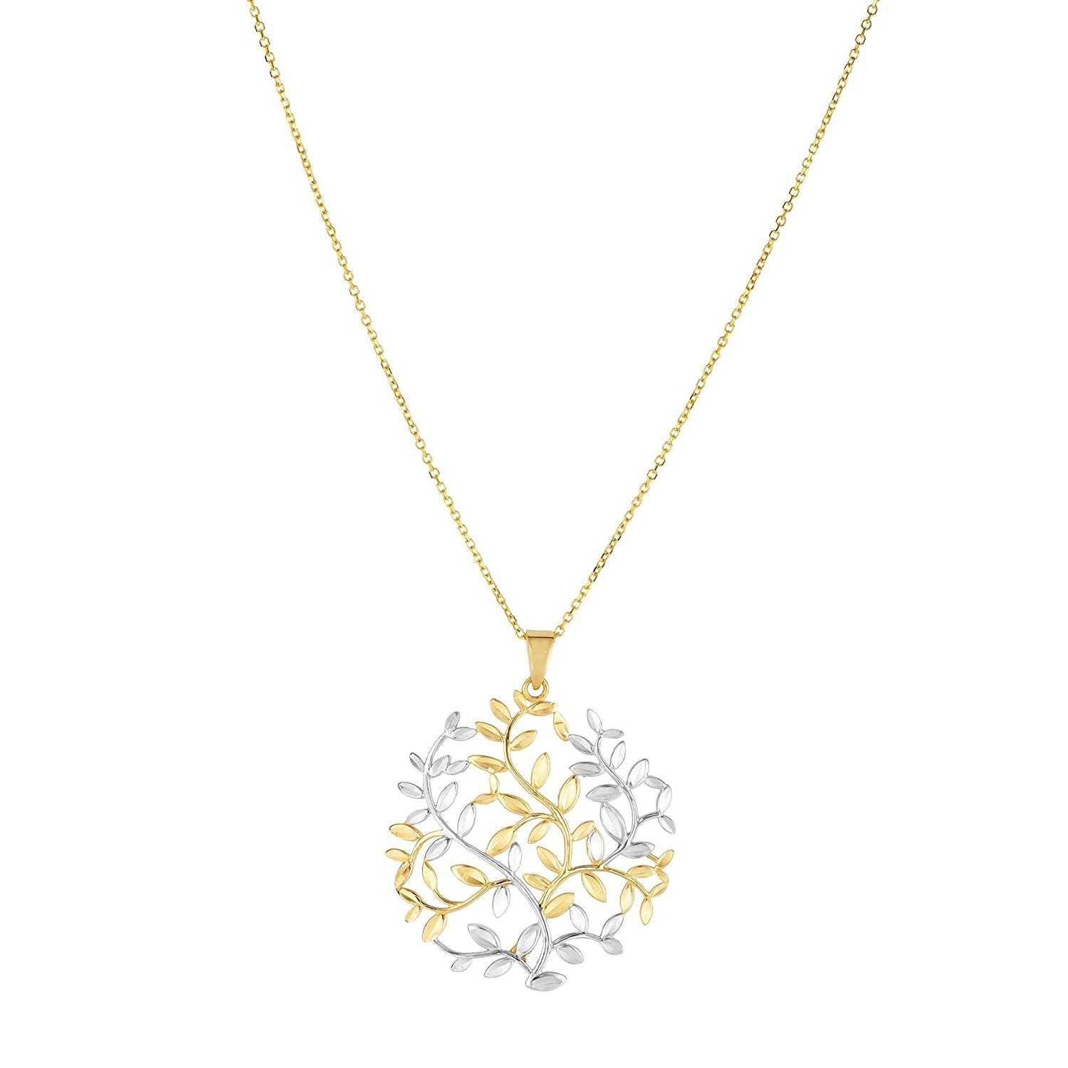 14K Yellow /& White Gold Shiny 34x29mm Tree of Life with Yellow Gold 0.8mm Chain by IcedTime