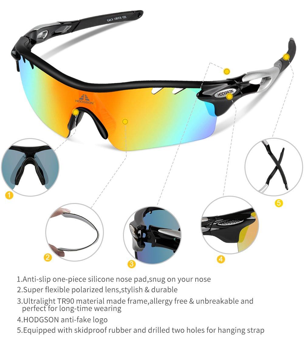 b7e417a033a Amazon.com   HODGSON Polarized Sports Sunglasses for Men Women with 5  Interchangeable Lenses   Sports   Outdoors