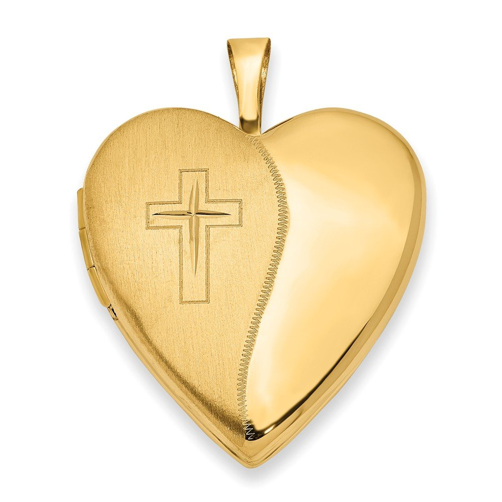 Mia Diamonds 14k Yellow Gold 20mm Polished Satin with Cross Heart Locket
