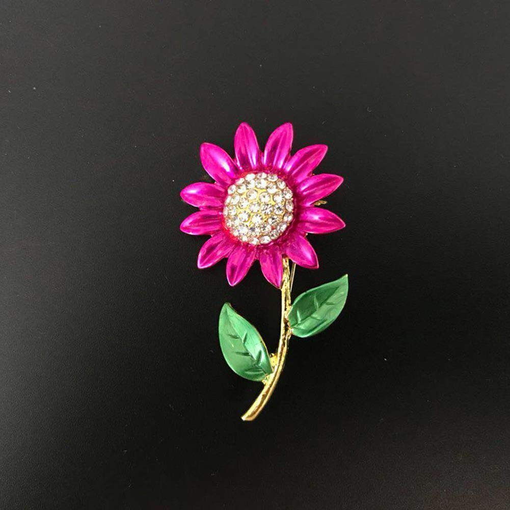 Women Fashion Rhinestone Jewelry Gift Clothes Badge Decor Sunflower Brooch Pin for Wedding Christmas Party Lover Women Gift Present Dandeliondeme Sparkly Gorgeous Brooch