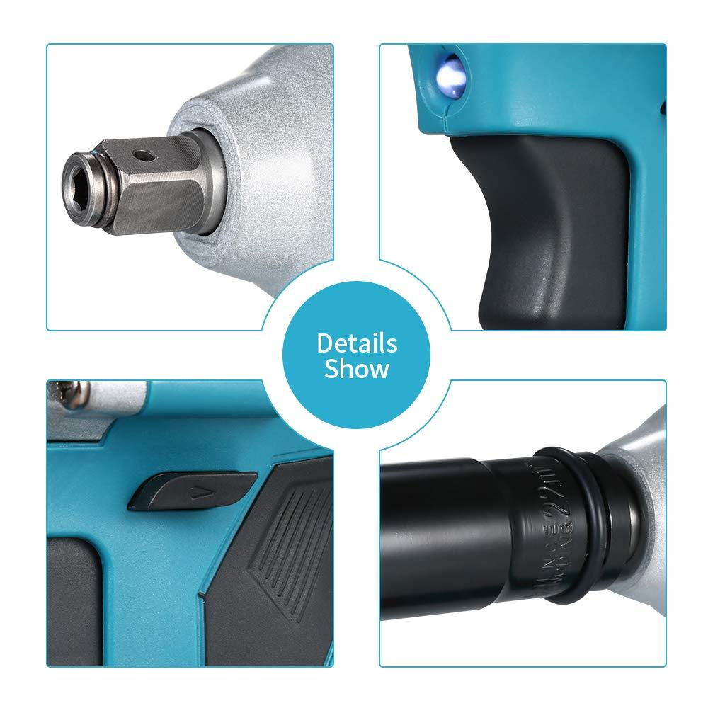 Godyluck KKmoon NL721 Cl/é /à Chocs /Électrique Sans Balai Cl/é /à Chocs Sans Fil Rechargeable Outil De Batterie Au Lithium de 3000 mAh Pour Installation De Forage Bleu