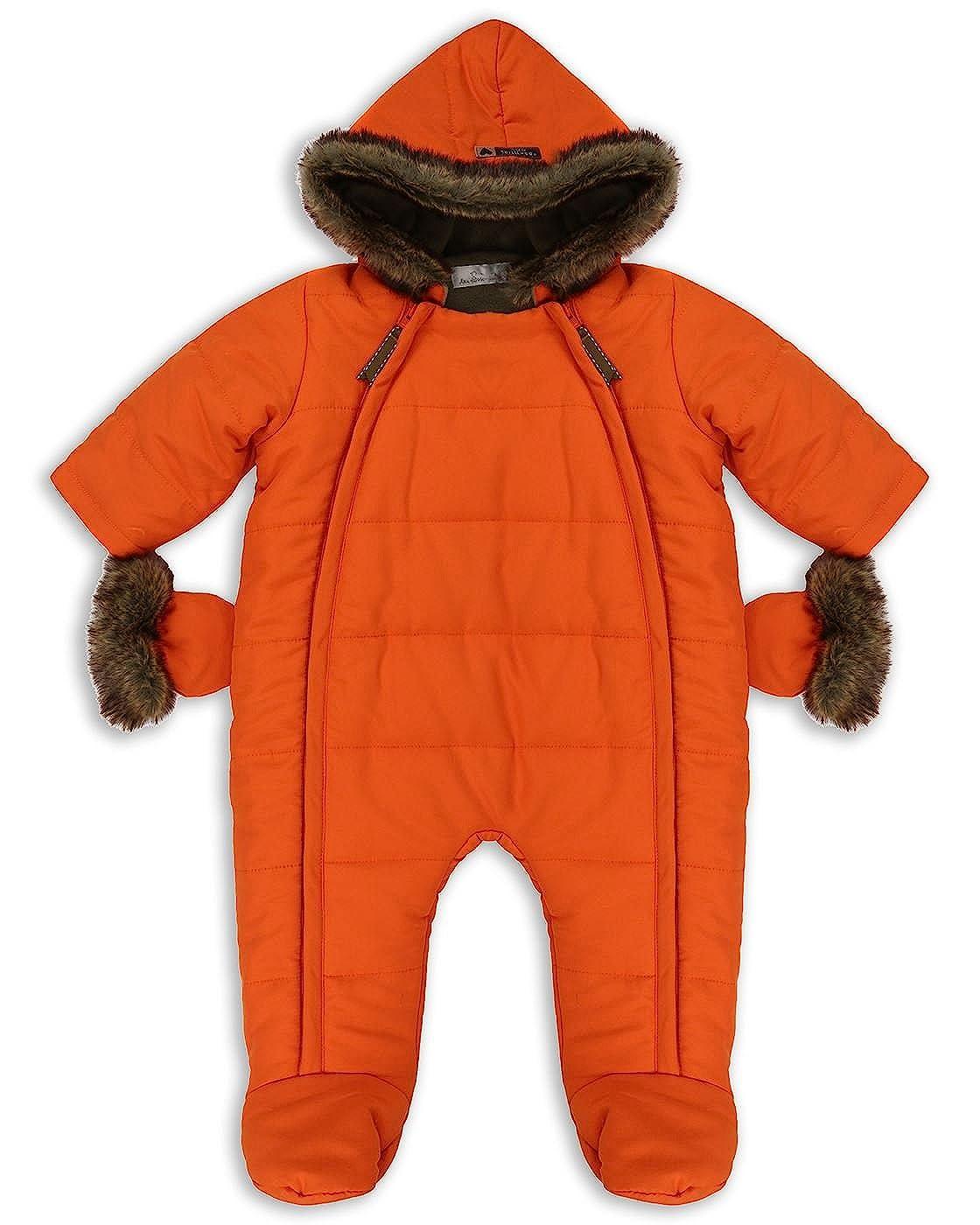 The Essential One - Baby Unisex Fur Trimmed Pramsuit/Snowsuit - Orange - EO259
