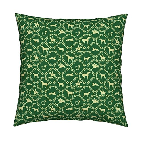 Roostery Foxhunt Eco Canvas Throw Pillow Hunt Damask Green by Ragan Cover and Insert Included