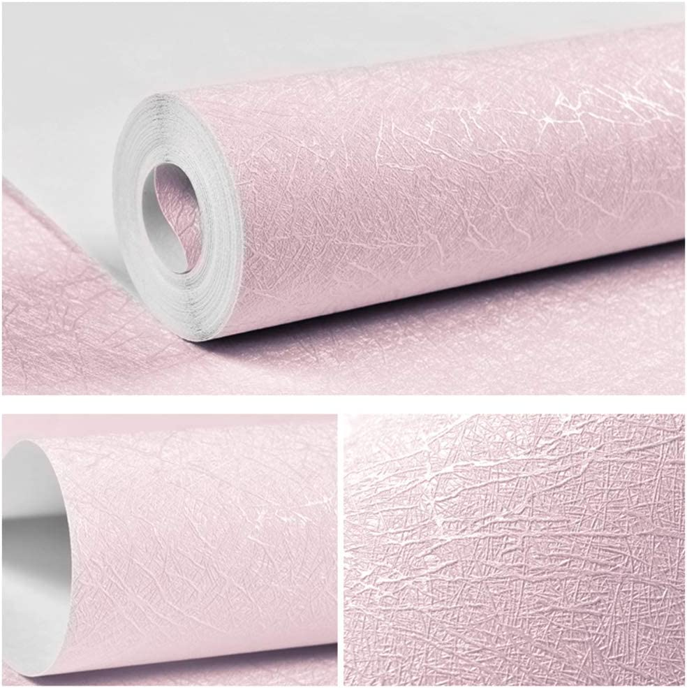 "Pink Wallpaper Peel and Stick Wallpaper Solid Color Self Adhesive Removable Wallpaper 15.7""x118"" Thick Pink Embossed Silk Wallpaper Waterproof Home Decor DIY Vinyl Film For Wall Cabinet Dresser Drawer"
