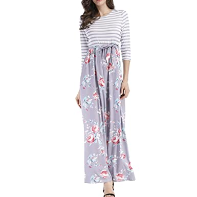 5173bb6e40c Women Fashion 3 4 Sleeve High Waist Striped Print and Floral Print Long Maxi  Dress Shirt Dress With Side Pockets at Amazon Women s Clothing store