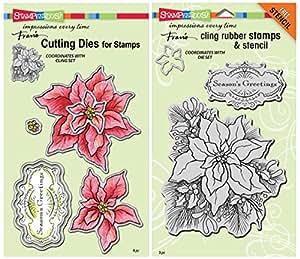 Stampendous Poinsettia Cling Stamp & Die Set - 2 Item Bundle