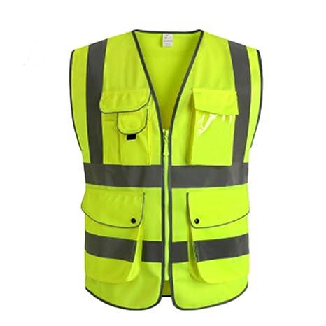 Chaleco reflectante de seguridad con nueve bolsillos, chaleco de accidentes, pinchazos, con rayas reflectoras y cremallera, ...