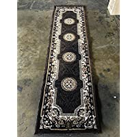 Traditional Persian Runner Rug Black & BrownDesign C314 (2 feet X 7 feet)