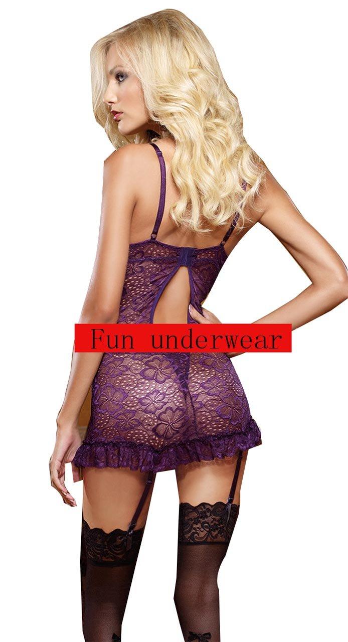 Ailin home- Para Sexy Lingerie Uniforme Tentación Señora Tricolor Lace Para home- Enviar Calcetines ( Color : Purple , Tamaño : XL ) e757e3