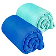 "Muslin Swaddle Blanket 2 pack By Eden's Grace- ""Navy Blue and Teal Green""- Extra Large 47 x 47 inch-Ultra Soft Bamboo Swaddle Blankets- Perfect Baby Shower Gift"
