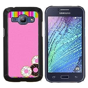 EJOOY---Cubierta de la caja de protección para la piel dura ** Samsung Galaxy J1 J100 ** --Buñuelos del arco iris rosados ??dulces