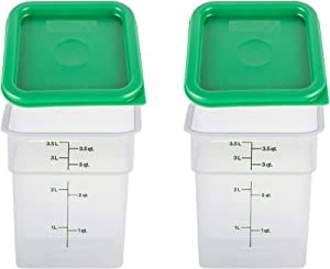 Cambro 4SFSPP190 4 Qt. Translucent Container with SFC2452 Kelly Green Lid, 4Quart, pack of 2