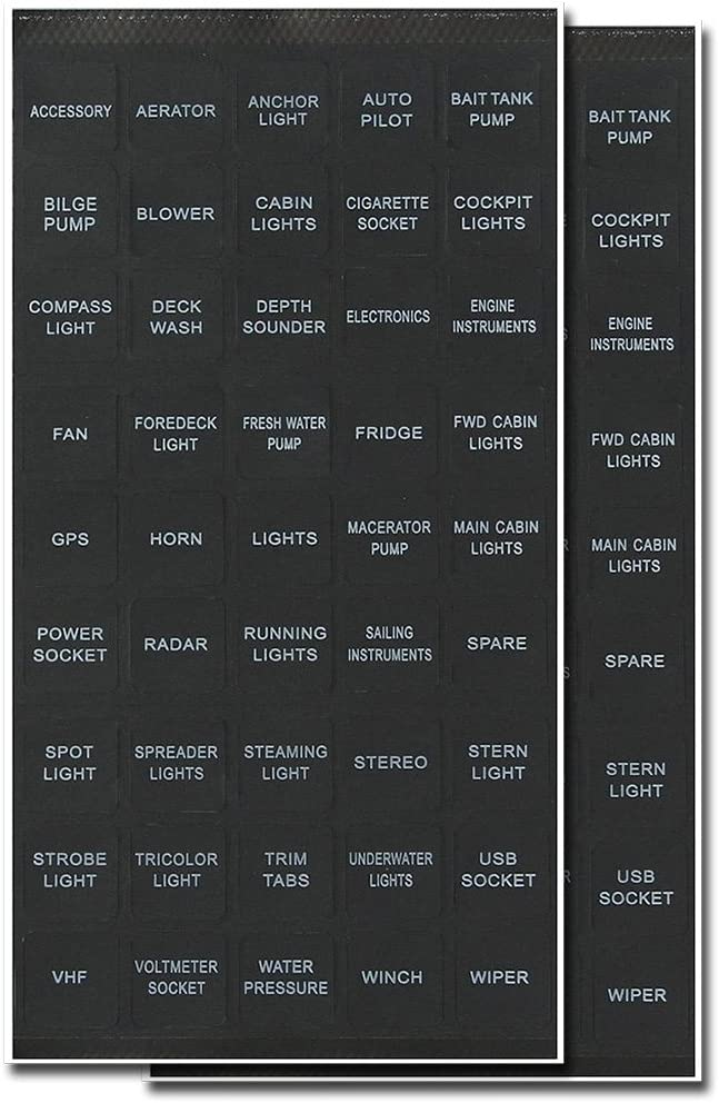 BUNKER INDUST Set of 2 Decal Sticker Label Sheet for Caravan Marine Boat Dash Board Instrument Rocker Switch Circuit Panel GPS Horn Light,Black(45 Pcs Each): Automotive