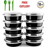 Round Meal Prep Containers Set by NimNik, 10 Pack Lunch Box Bento Box, Food Storage Portion Control Container, 21 Day Fix, BPA Free, Reusable, Microwave, Dishwasher, Freezer Safe