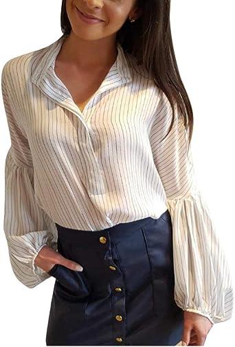 Camisa De Rayas Larga De Blusa De Rayas De Las Ropa Mujeres del Otoño Tops De Camisas De Manga Larga Elegantes De La Blusa De Solapa De La Manera Elegante Tops: Amazon.es: