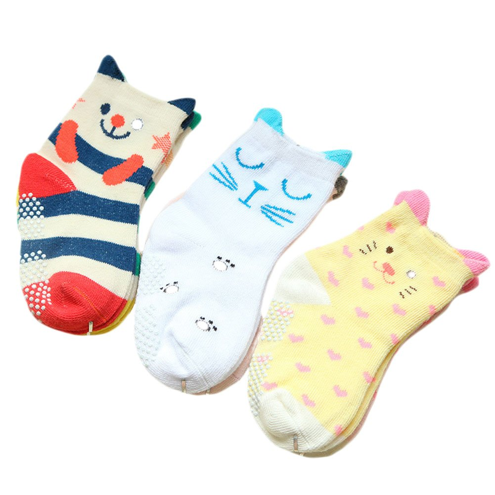 Yanzi6 Unisex-baby Newborn 2 Pack Cartoon Skidproof Socks