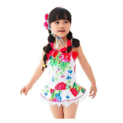 Taiycyxgan Girls One-piece Floral Print Swimwear Bowknot Swimsuit with Hat