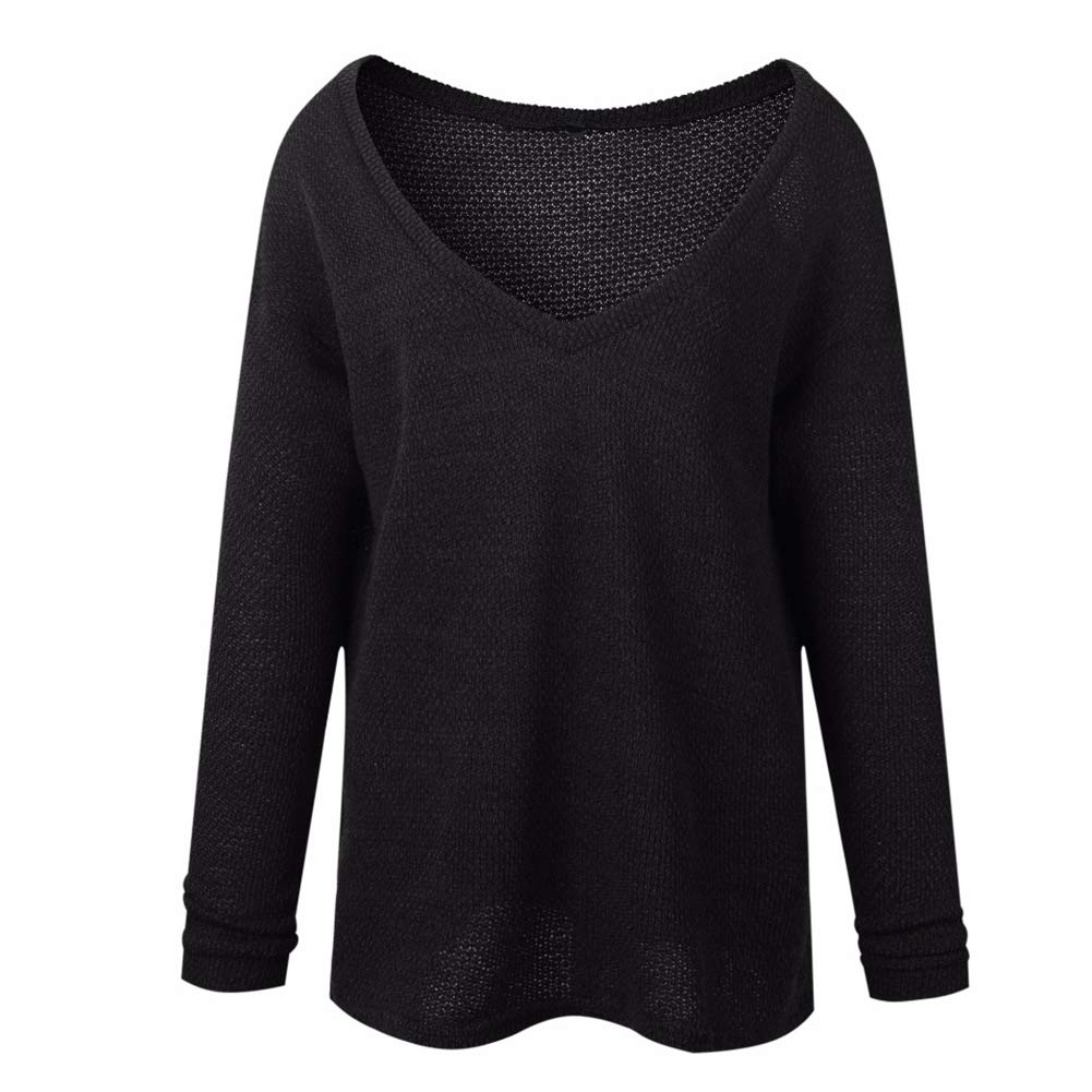 periwinkLuQ Women Sweater Solid Color Long Sleeve V Neck Loose Jumper Sweatshirt for Autumn Winter Casual Black S