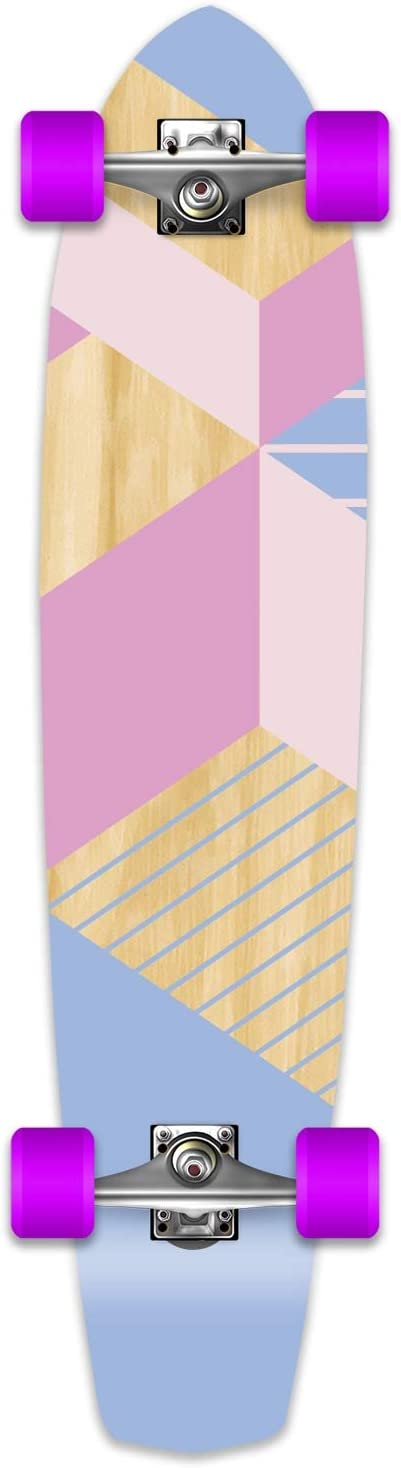 Yocaher Geometric Series Longboard Complete Cruiser and Decks Available for All Shapes Complete-SlimKick-Purple