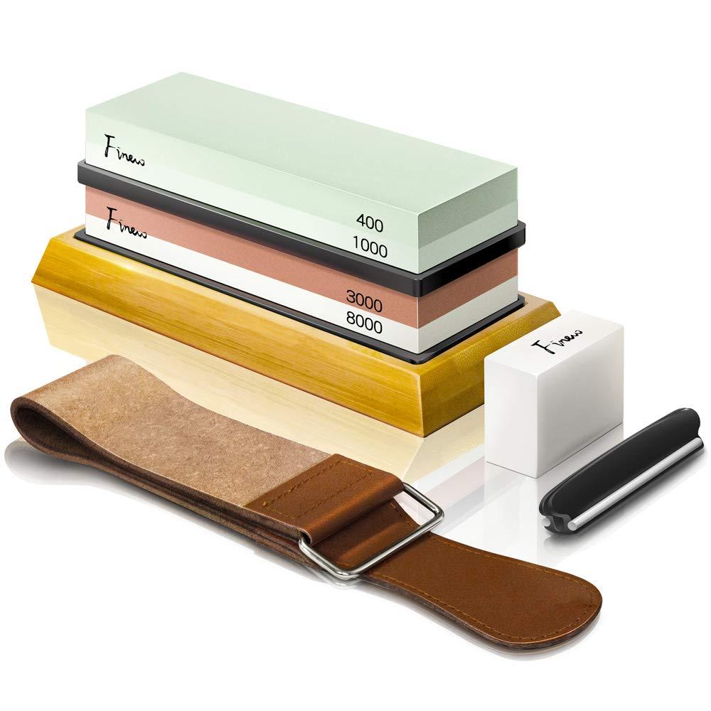 Knife Sharpening Stone Kit, Finew Professional Whetstone Sharpener Stone Set, Premium 4 Side Grit 400/1000 3000/8000 Water Stone, Non-slip Bamboo Base, Flatting Stone, Angle Guide and Leather Strop