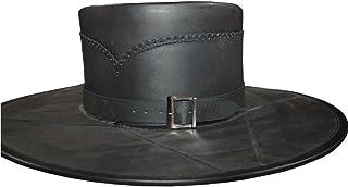 NASIR ALI médiéval Costume Head N HOME Cuir Noir fait main style Pure Cuir Chapeau