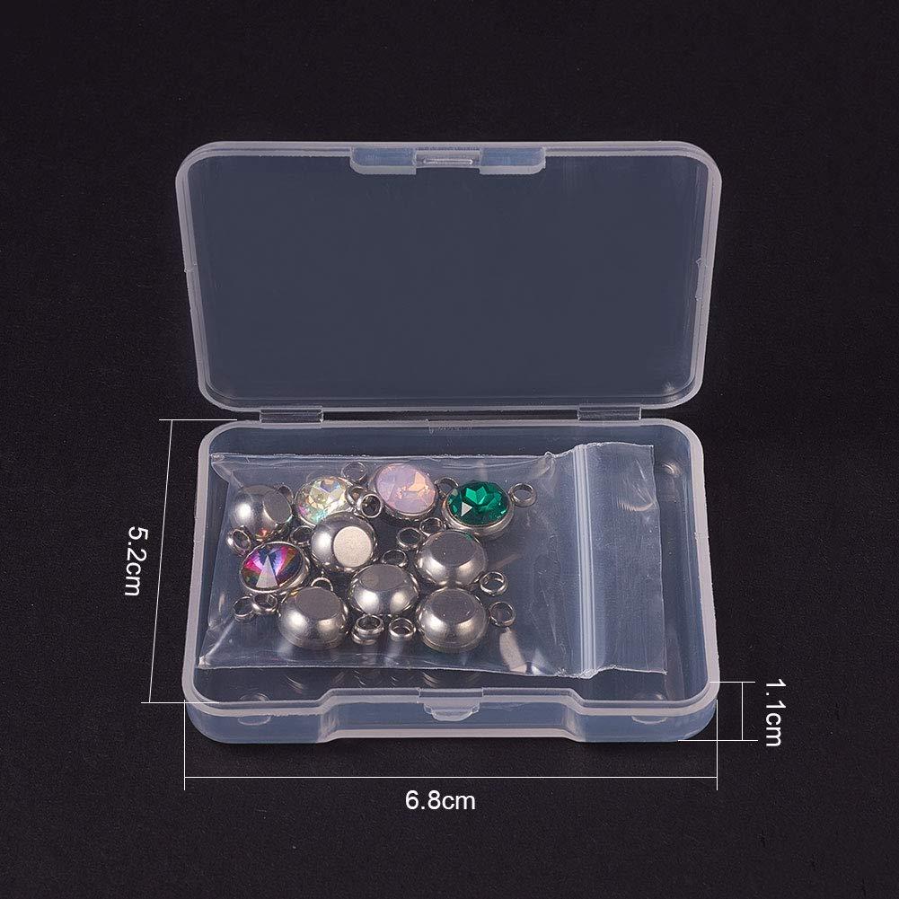 10 Colori Misti PandaHall Elite 10pcs enlace Charms ciondoli di Vetro e 304 Acciaio Inossidabile Perle Piatte Rotonde con 2 Fori per Braccialetti Collana Gioielli Fai da Te