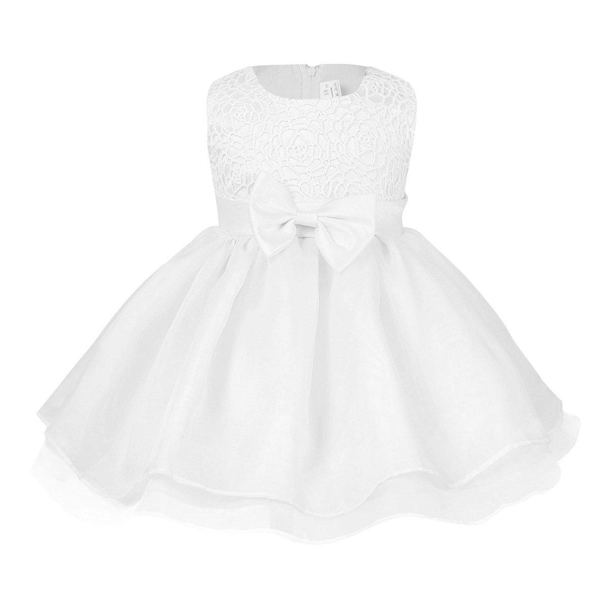 b8adff22a4cb7 freebily Bébé Princesse Fille Robe Robe De Cérémonie Habillée Blanc Robe  Baptême Bébé Tutu Fleur Robe de Danse Taille 6-24 Mois