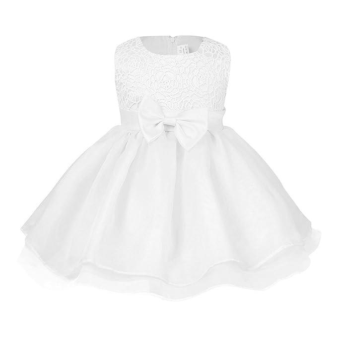 iEFiEL Vestido Blanco de Princesa Boda Fiesta Bautizo para Bebé Niña Recién Nacido (6-
