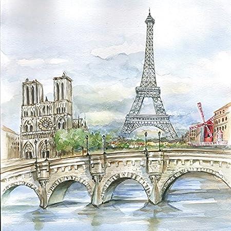 Napkins 33 X 33 Cm Napkin Technique Vintage Paris Eiffel