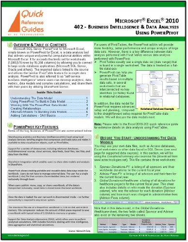 Microsoft Excel 2010 Quick Reference Guide: Business Intelligence & Data Analysis Using PowerPivot (402)