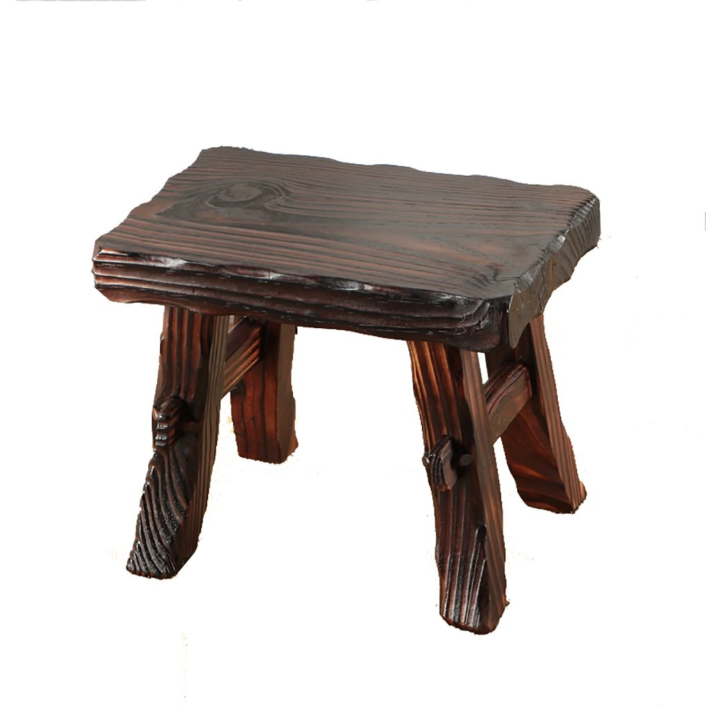 WENJUN Small Stool Home Solid Wood Children's Wood Stool Living Room Stool Modern-style Retro Old Stool Creative Adult Shoes Stool Living Room Coffee Table Stool ( Color : Wood color1 )