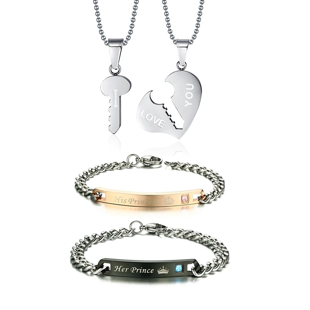 Vnox Matching Set Stainless Steel ''I LOVE YOU'' Valentine Couple Pendant& Bracelets Jewelry Set,Silver by VNOX (Image #1)