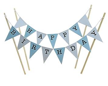 Juego de banderines de Feliz cumpleaños para pastel