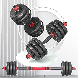 RUNWE Adjustable Dumbbell Sets, 60-70 - 80-90 lb Available, Barbell Weight Sets for Home Gym, Adjustable Weights for Exercises, Adjustable Dumbbell Barbell Set