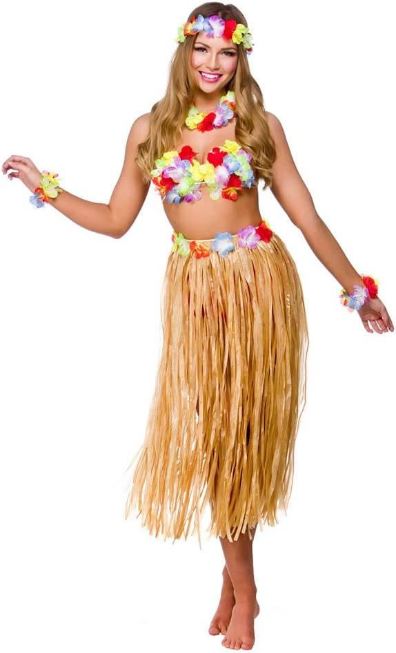 New Ladies Girls Hawaiian Beach Party Inflatable Hula Skirt Bra Fancy Dress Acc