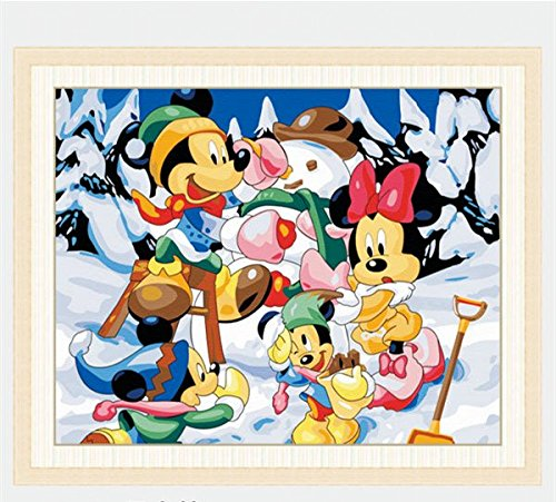 Mickey Mouse Play In the Snow--New DIY Digital Oil Painting Paint By Number Kit For Child Wall decoration 12*16 Inch