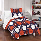 un 3 Piece Navy Blue Orange Brown Sports Themed Comforter Full Queen Set, All Star Sport Bedding Basketball Football Baseball Soccer Atheletic Pattern Fan Red Black, Reversible Pebble Print Cotton