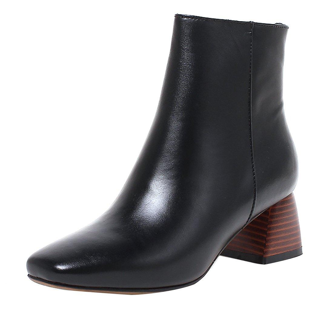 QIN&X Damens's Square Toe Block High Heels kurze Ankle Stiefel Plateauschuhe schwarz