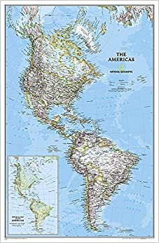 The Americas North South America Political Map Laminated - North and south america map